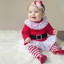 2016 новый Санта-Клауса одежду девушки платье + брюки 2 шт. костюмы детский Рождественский подарок новорожденных девочек комплект одежды для Рождественской вечеринки