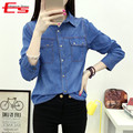 Plus Size 2017 Autumn Cotton Denim Shirt Women Clothing Blue Vintage Jeans Blusa Casual Long Sleeve Camisa Jeans Feminina Blouse