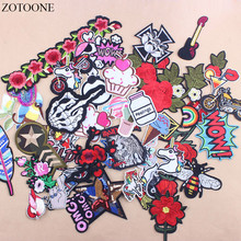 Prajna Promotion 30Pcs Random Mixed Flower Biker Letter Iron On Patches Stripe Sequin Embroidered Applique Patch For Clothing C1
