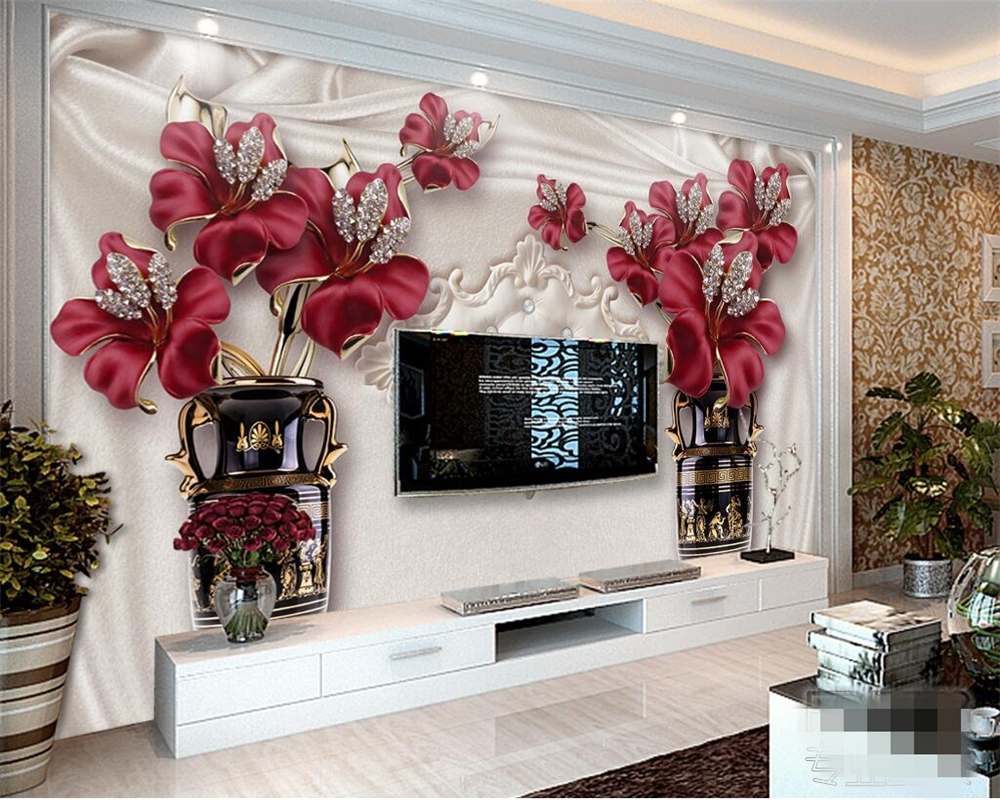 Beibehang Custom Photo Wall Mural 3d Wallpaper Luxury: Beibehang Custom Wallpaper Relief Wall Wallpaper Flower
