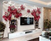 Beibehang Custom Wall Murals 3D Living Room Bedroom TV European Jewelry Flower TV Background Photo Wallpaper