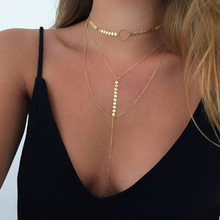 Bohemian crystal choker necklace for women long chain pendant necklaces multi layer choker sets boho vintage fashion jewelry