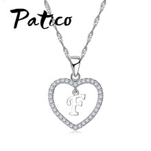 PATICO Top Quality Letter Pendant Necklace 925 Sterling Silver Trendy English Letter Design Summer Style Jewelry Accessory(China)
