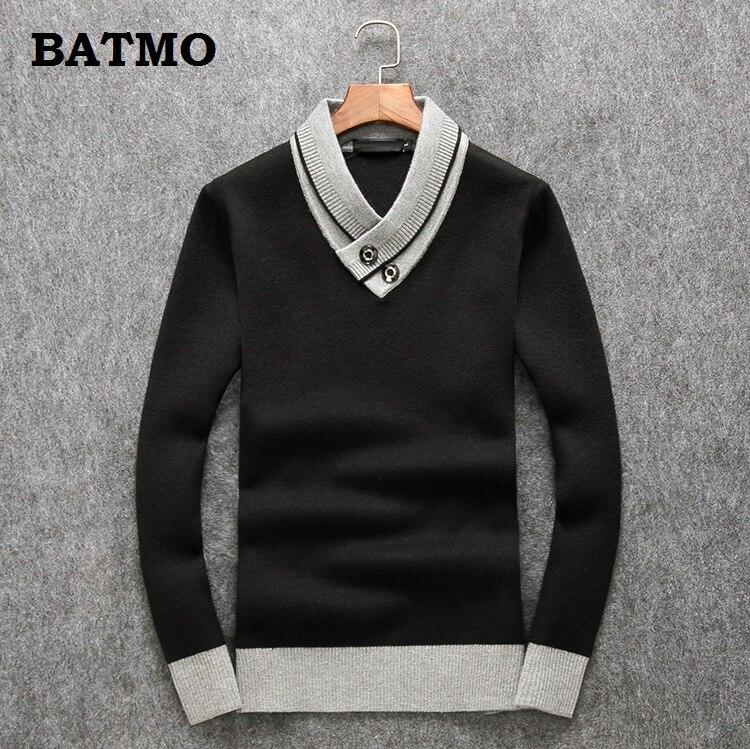 Batmo 2018 Новое поступление осенний высококачественный 90% шерстяной повседневный мужской свитер, мужские черные свитера 006