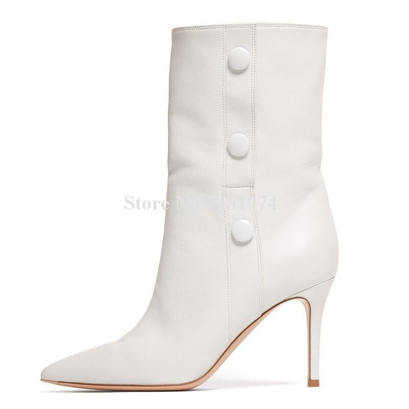 Bouton Décoration Picture De mollet Plus As Automne Femmes Et Talon Pointu D'hiver Mi Chaud Mode Haute Bout Le Blanc Bottes Qualité a1ZRqw
