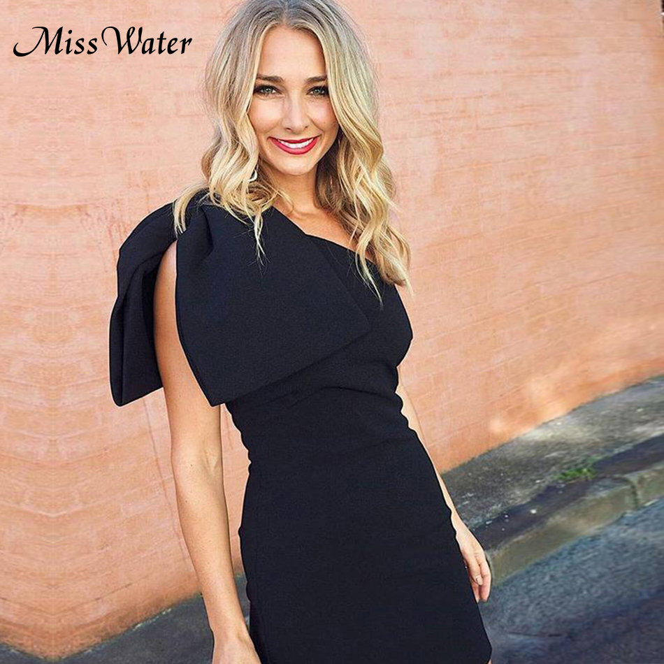 Miss Water Women Summer New 2018 Party Dresses Grace Casual Black White One shoulder Sleeveless Bow Mini Celebrity Runway Vestid ...