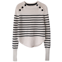 striped wool sweater pullover jumper with button for women warm thick runway sweater knitted knitwear 2018 new high quality