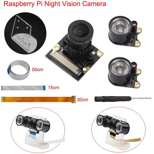 Raspberry Pi 3 Model B+ B Plus Camera Night Vision Focal Adjustable Camera + IR Light + Holder +FFC for Raspberry Pi Zero W/1.3