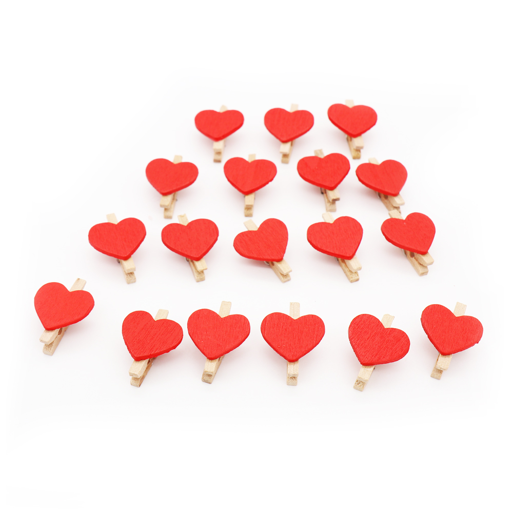 100PCS cute mini red lover heart shaped wooden clips Diy wedding ...