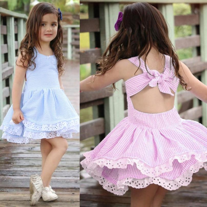 Cherry Pills #3004 Summer Dresses Toddler Kids Baby Girl Summer  Fashion Clothes Stripe Lace Party Pageant Princess Dresses