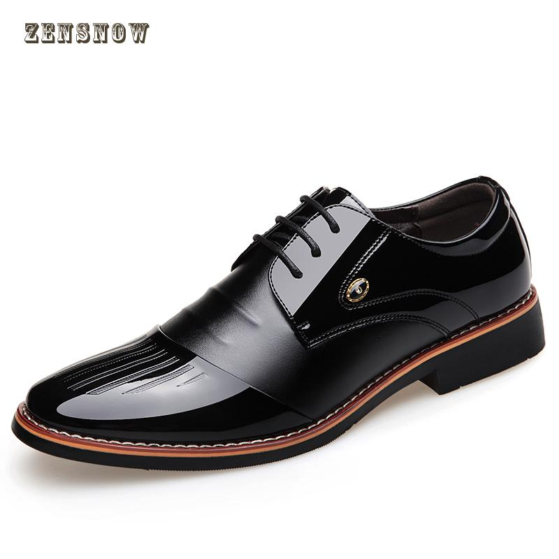 High Quality Men's Business Black Patent Leather Shoes Spring Male British Pointed Casual Shoes Occupation Wedding Shoes