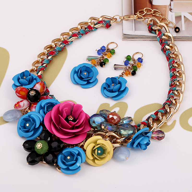 12 colors Fashion Wedding Bridal Jewelry Sets Women Gold Chain
