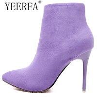 Yierfa Otoño Invierno mujer boda Botas zip Point toe Thin Tacones altos Botas Rosa naranja rojo púrpura gris azul botas Mujer