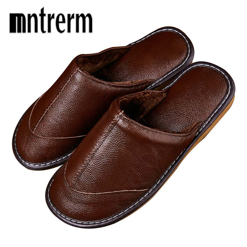 Mntrerm Home Slippers Men Autumn Winter Leather Shoes Warm Slippers Flats Shoes Non-slip Soft Floor Sneakers For Indoor Mens New