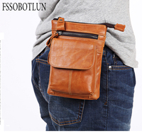 FSSOBOTLUN,5.5 6.0 inch Smart Phone Bag Protective Case Men's Waist Bag Leather Belted Mobile Phone Bag With Shoulder Strap