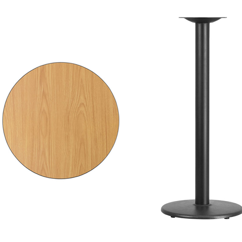 Flash Furniture 24'' Round Natural Laminate Table Top with 18'' Round Bar Height Table Base [863-XU-RD-24-NATTB-TR18B-GG] winsome cora pub table bar height round faux marble top black base