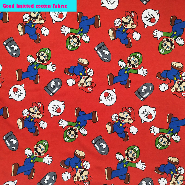 38a295be2b0 Soft Lucky Red Jersey Fabric Cartoon Super Mario Printed Fabric knitted Cotton  Fabric Sewing Material diy