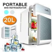 20L Portable Refrigerator 12V/220V 65W Car Home Caravan Boat Fridge Cooler/Warmer Dual Core 2 Door Design 3 Layers To Storage