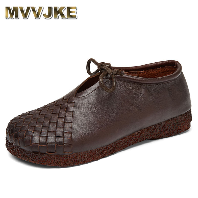 MVVJKE Women Flat Shoes Lace Up Moccasins Mother Soft Genuine Leather Ladies Shoes Handmade Flats Black Casual Women Shoes