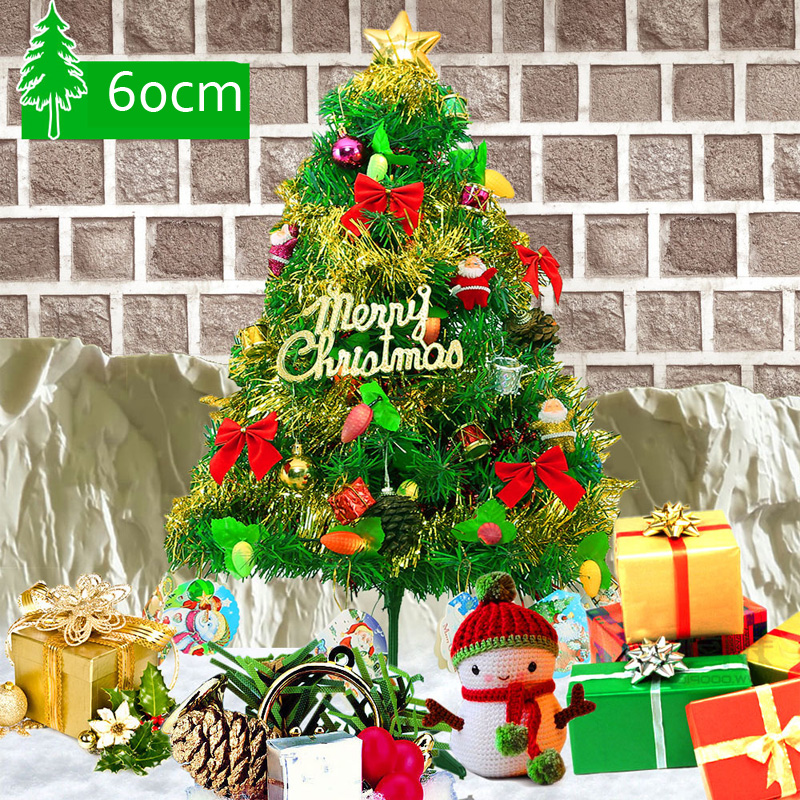Pvc Christmas Trees.Us 23 45 49 Off Mini 60cm Artificial Christmas Tree Plastic Pvc Santa Claus Decorations With Hanging Ornaments Party Xmas Tree Celebrate Supplie In