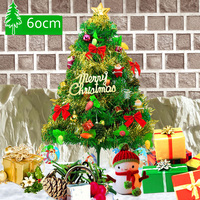 Mini 60cm Artificial Christmas Tree Plastic PVC Santa Claus Decorations With Hanging Ornaments Party Xmas Tree Celebrate Supplie