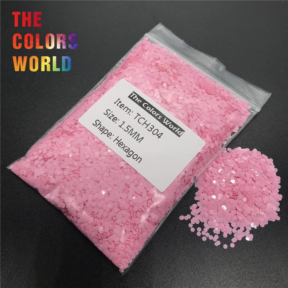 tch304 solvente resistente matte rose pink color hexagon forma prego brilho da arte do prego decoracao