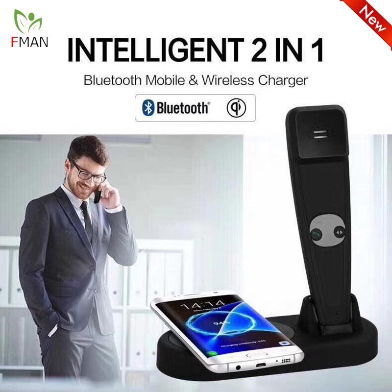 FMAN Intelligente 2 En 1 Qi Rapide Sans Fil De Charge Pad Pour iPhone 8 X Samsung S6 Bluetooth Mobile Téléphone Sans Fil Chargeur Titulaire