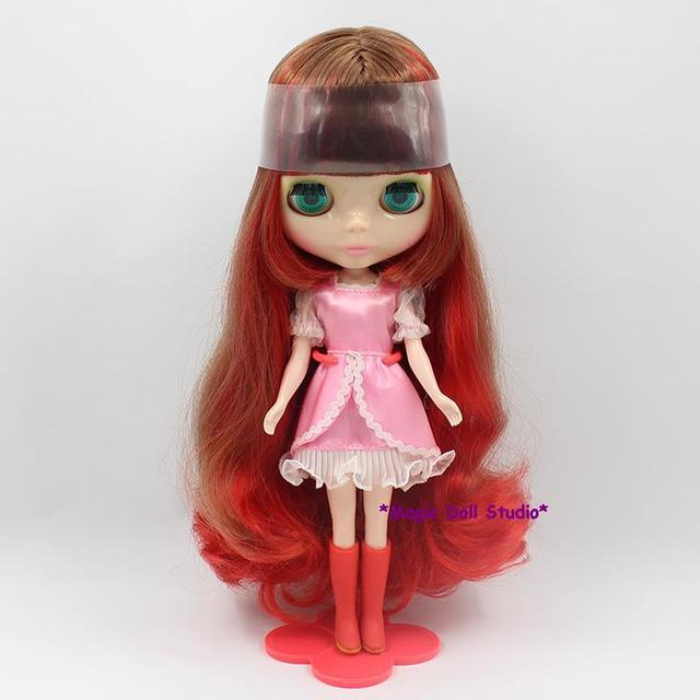Free Shipping 12 Inch Fashion Doll Red And Brown Color Mixed Hair Neoblythe Head Suitable For Make Up Nbl038