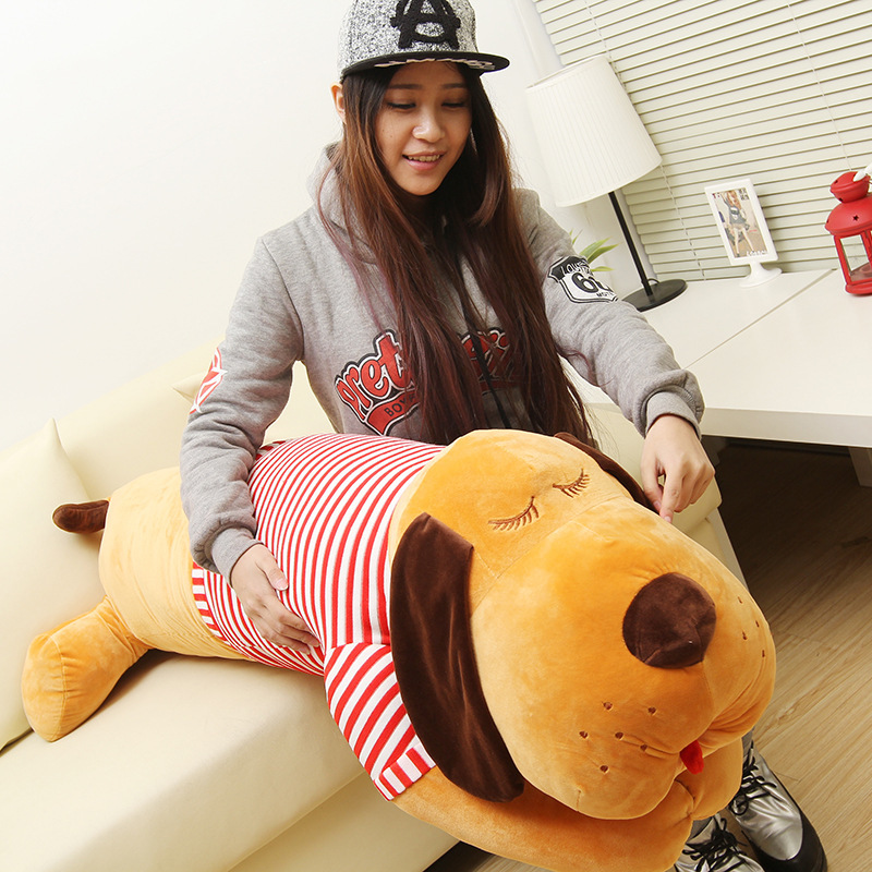 huge 120cm lying dog plush toy pillow brown dog with red stripes cloth doll throw pillow originality birthday gift w5248 lovely giant panda about 70cm plush toy t shirt dress panda doll soft throw pillow christmas birthday gift x023