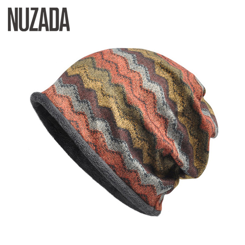 Brand NUZADA Thicker Style Add Fluff Knitted Caps Hat Winter Keep Warm Men Women Hedging Cap   Skullies     Beanies   Bonnet Cotton
