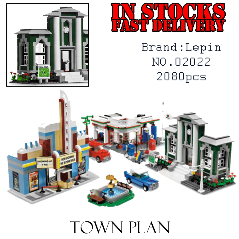 Lepin 02022 1080pcs City 50th Anniversary Town model Building Blocks Bricks educational Toys for children Gifts compatible 10184 lepin 16008 cartoon castle city model building blocks brinquedos kid educational toys for children gifts compatible blocks 71040