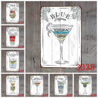 1 Pcs Antique Decorative Plate Cocktail Tin Signs Bar Pub Garage Home Art Wall Decor Poster Metal Signs Home Decor 20x30CM