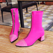 Купить с кэшбэком 2018 Autumn New fashionshoes women boots stretch ankle boots pointed toe lycra women heel booties Black rose red women shoes