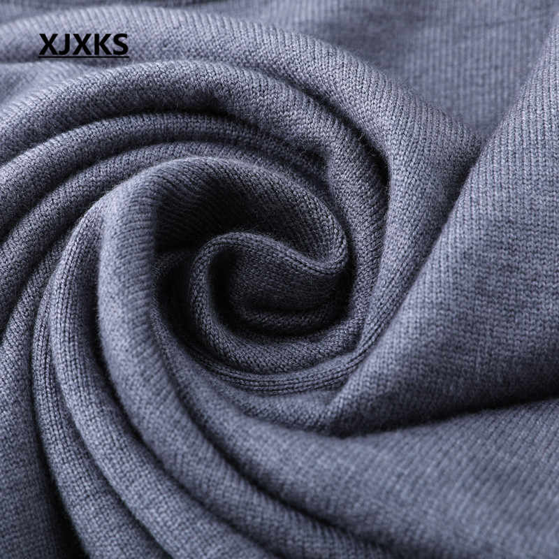 Xjxks Baru 2019 Wanita Sweater Musim Gugur dan Musim Dingin Plus Ukuran Panjang Sweater Fashion Pakaian Rajut Gaun Turtleneck Panjang Pullover