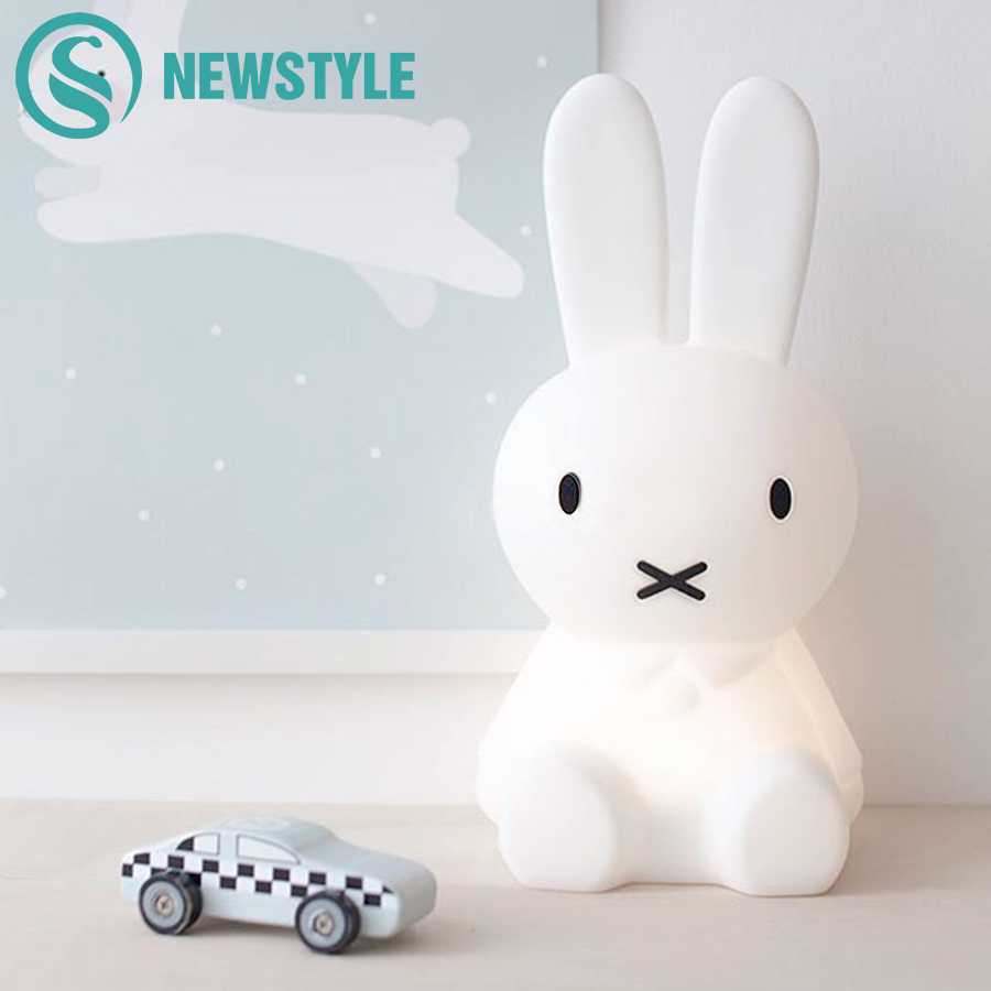 Cute Rabbit LED Night Light Children Bedroom Night Lamp Dimmable Cartoon Decorative Lamp for Baby Birthday Christmas Gift 50cm decorative cartoon bear led night light silicone white bedside night lamp for children baby christmas birthday gift