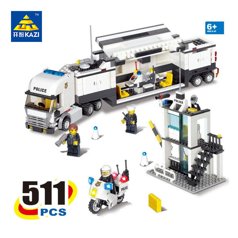 KAZI Police Command Center Truck Building Blocks Sets Bricks Model Brinquedos Gift Educational Toys for Children 6+ 511pcs 6727 kazi fire department station fire truck helicopter building blocks toy bricks model brinquedos toys for kids 6 ages 774pcs 8051