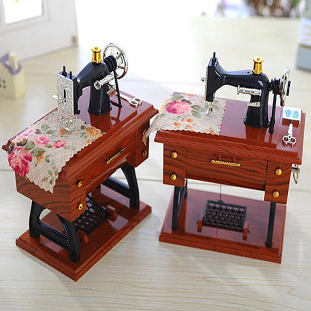 Vintage Sewing Machine Shaped Music Box
