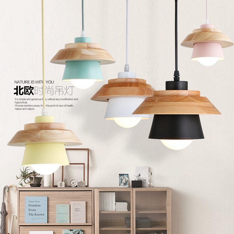 NEW Nordic Pendant Lights For Home Lighting Modern Hanging Lamp Wooden iron Lampshade E27 LED Bedroom Kitchen Light 90-260V mantra настенный светодиодный светильник mantra sisley 5087