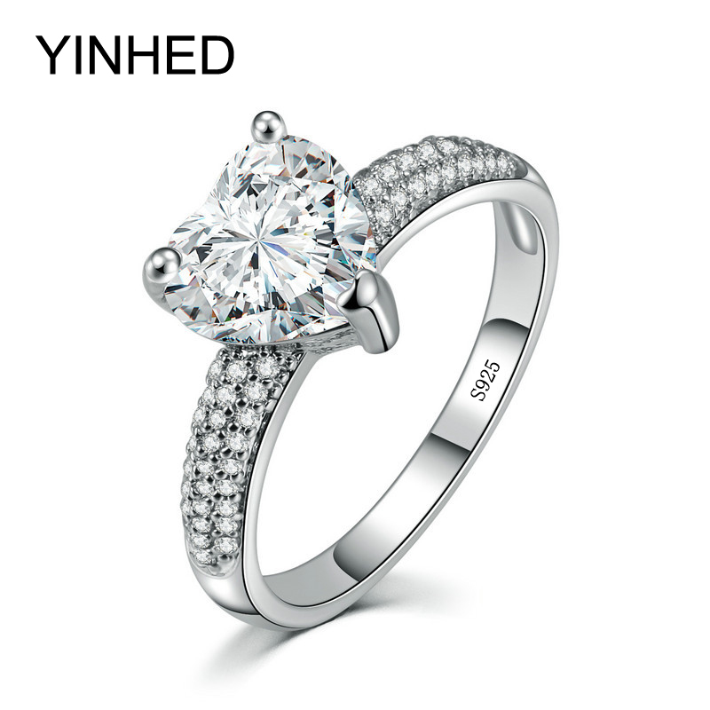 yinhed hot sell engagement rings for women heart cubic zirconia cz diamant wedding band ring 925 - Where To Sell Wedding Ring