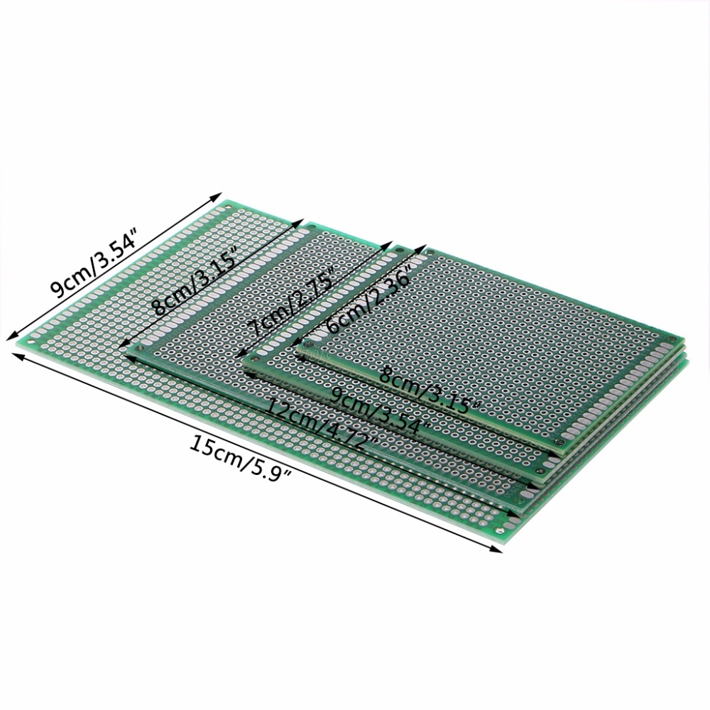 4 Pcs Double Side Diy Prototype Pcb Universal Doubleside Printed Circuit Board Electronics Solder Coating 6x8 7x9 8x12 9x15cm Sided