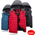 Free shipping plus size 4XL 5XL 6XL 7XL 8XL cotton vest male detachable cap cotton down vest brand tops big for 150 kg