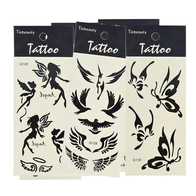 1 Sheet Sexy Butterfly Angel Temporary Tattoo Body Art Sticker Black 15x6cm Waterproof Fake Tattoo Styling Sticker LA125-130