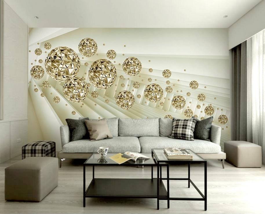Abstrato moderno 3d murais de parede bola dourada 3d mural papel de parede decoração para casa 3d mural