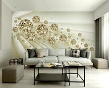 Modern abstract 3d wall murals golden ball 3d mural wall paper home decoration 3d mural wallpaper for wall papel de parede 3d цена