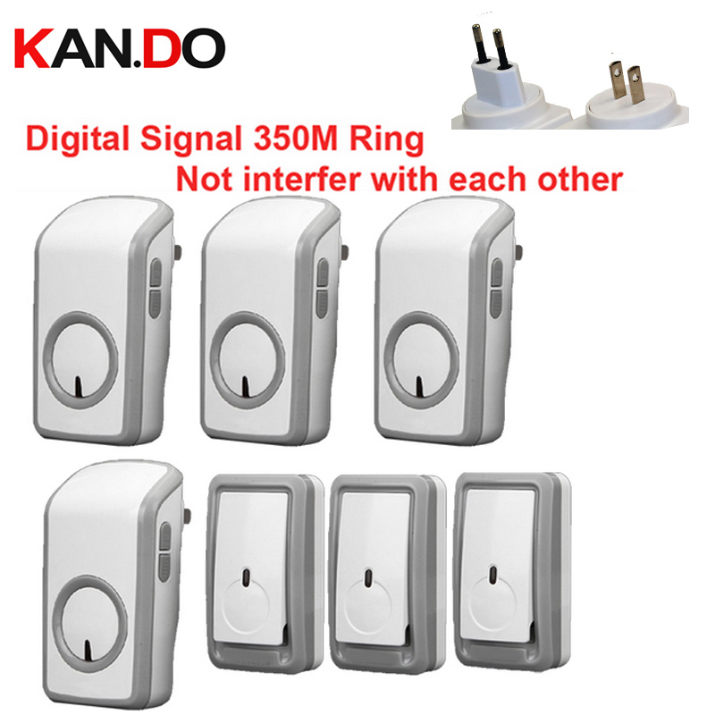 Euro /US plug bell kits w/ 3 emitters+4 receiver wireless doorbell Waterproof 380 Meter door chime door ring digital signal ring new restaurant equipment wireless buzzer calling system 25pcs table bell with 4 waiter pager receiver