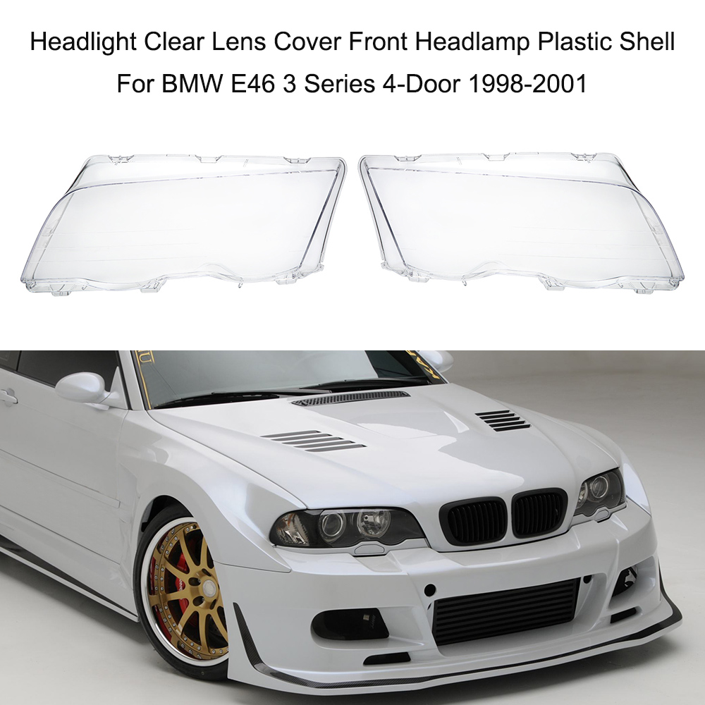 Headlight Clear Lens Cover Front Headlamp Plastic Shell For BMW E46 3 Series 4-Door 1998-2001 headlight clear lens cover 2 pcs front headlamp plastic shell for bmw e46 2 door 1999 2002 left