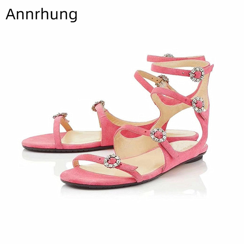Candy Color Flat Sandals Women Narrow Band Rhinestone Buckle Summer Shoes Crystal Gladiator Flat Beach Sandalias Feminina 2019Candy Color Flat Sandals Women Narrow Band Rhinestone Buckle Summer Shoes Crystal Gladiator Flat Beach Sandalias Feminina 2019