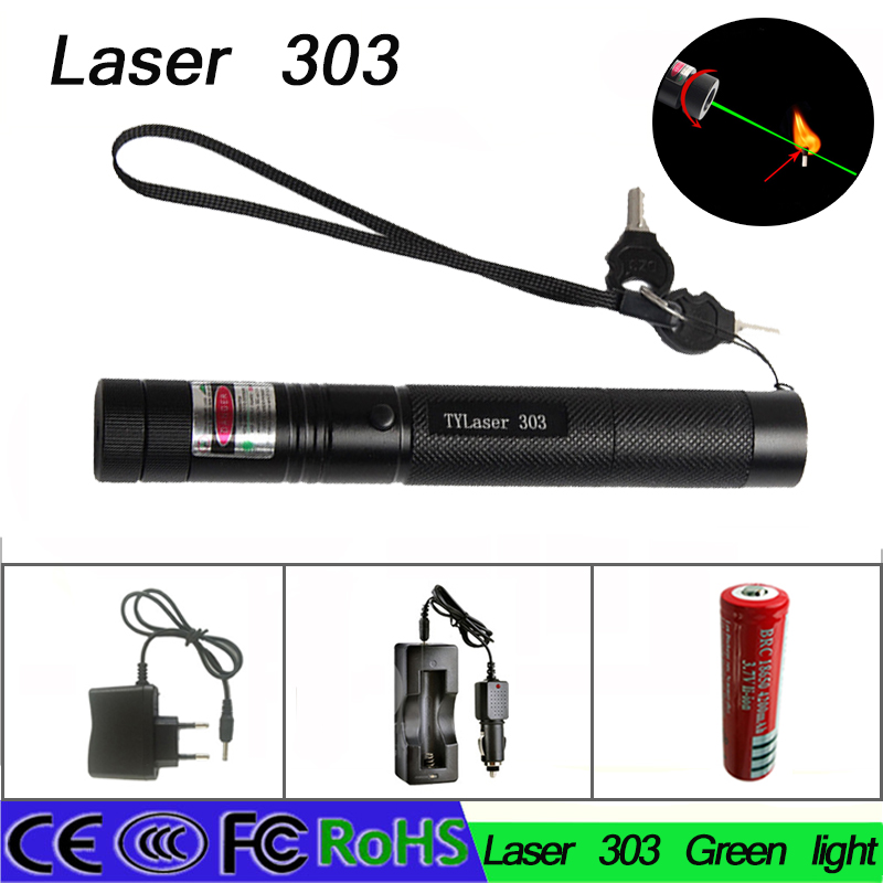 Z50 532nm 5mw 303 Green Lazer Pen Burning Bead 18650 Battery with safe key batteries charger