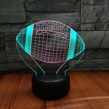 American Football Ball Night Lamp 3D Hit Color Hoom Decor Bedroom Decorative Child Kids Nightlight Gift LED Light