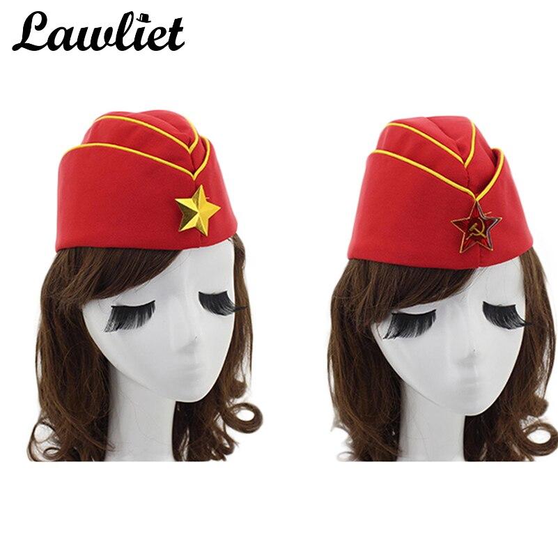 Estilo ruso soldado sombrero soviética unisex boina azafata barco forma  capinsignia asterisco camuflaje Beanie 6a3a36f5a856